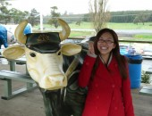 Poyee practising her best salute next to the Anzac Cow at Ashgrove Farm Cheese